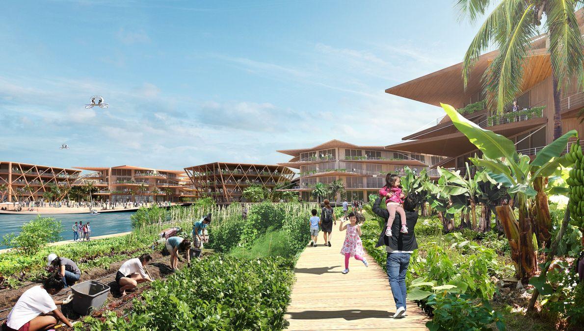 Dans ce concept de ville flottante, un quartier flexible et dynamique serait au centre de la ...