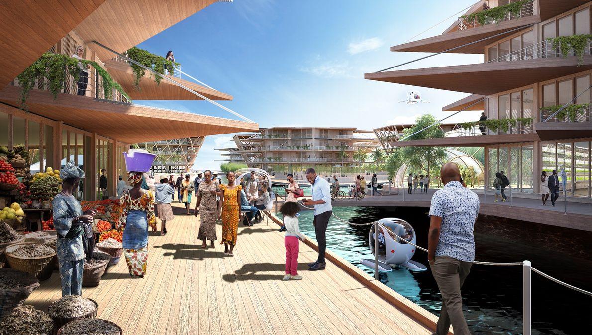 Dans ce design imaginé pour une ville africaine, l'accent est mis sur les espaces communautaires.