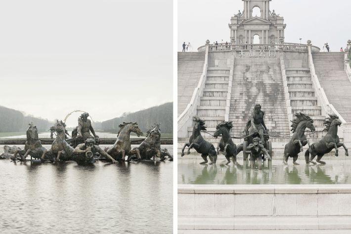 Le bassin d'Apollon de Versailles (à gauche) a été reproduit à Tianducheng (à droite).