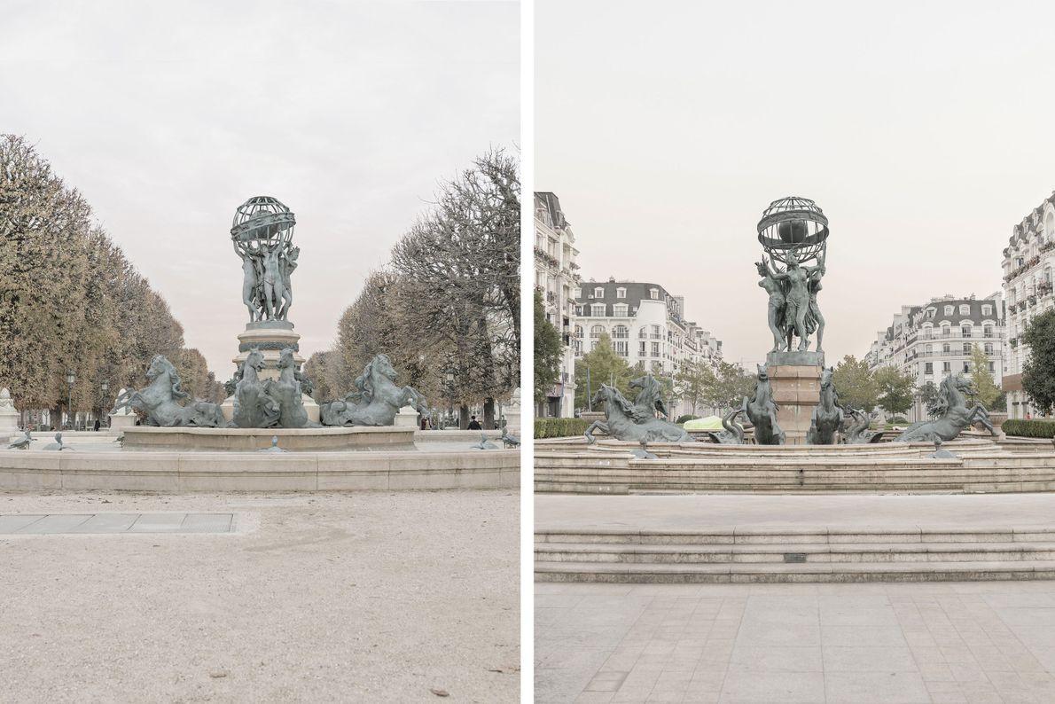 La Fontaine de l'Observatoire à Paris (à gauche) a été légèrement modifiée à Tianducheng (à droite).