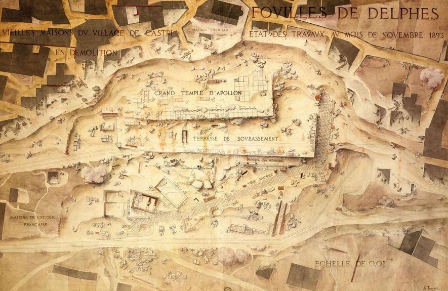 Etat des fouilles à Delphes en novembre 1893.