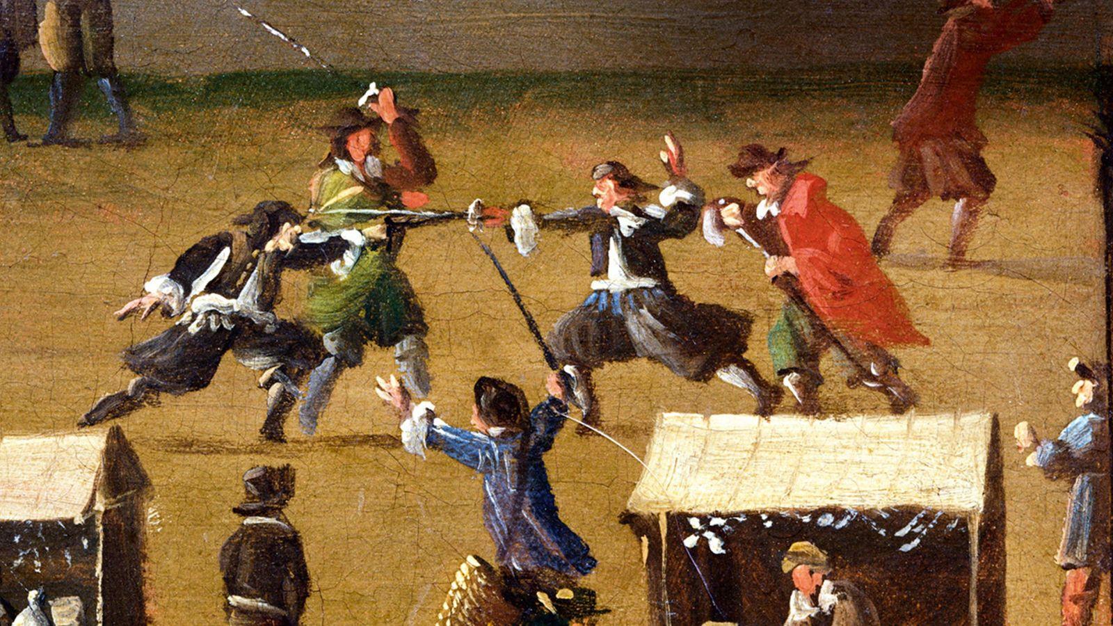 Pendant que les marchands vaquaient à leurs occupations, deux combattants se livraient un duel, encouragés par ...