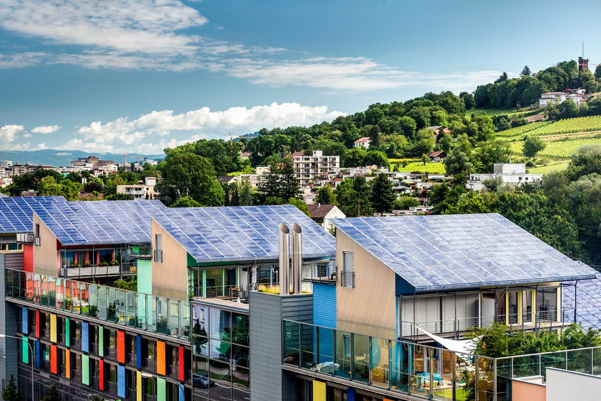 Fribourg, Allemagne. Le quartier de Vauban, le plus peuplé et le plus écologique de la ville souabe.