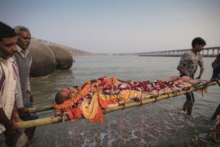 À Prayagraj, la famille de Ramesh Pandey a accepté d'être prise en photo alors qu'elle s'apprêtait ...