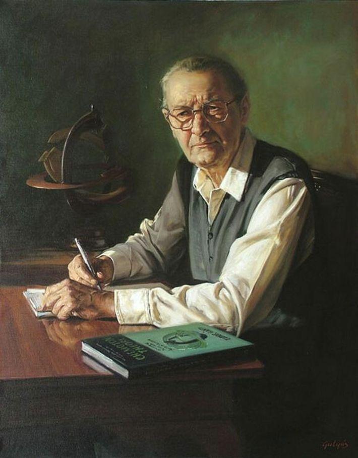 Peinture à l'huile représentant le biologiste hongrois Tibor Gánti.