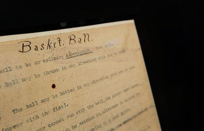 """1891 copy of the rules of """"Basket Ball"""""""