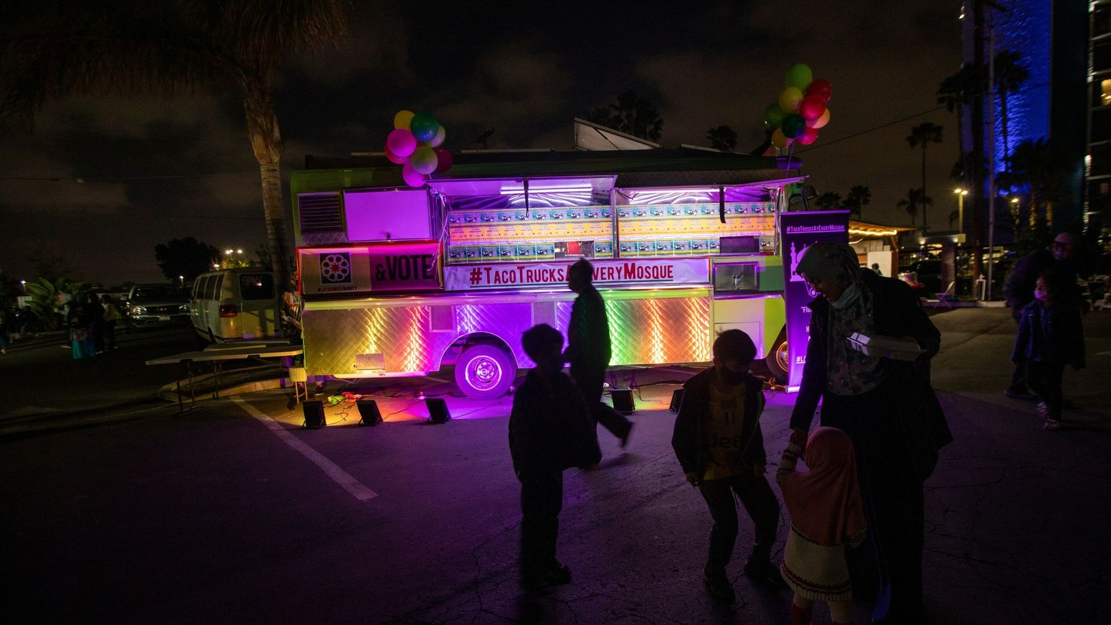 COVID vaccine/taco truck party at a mosque
