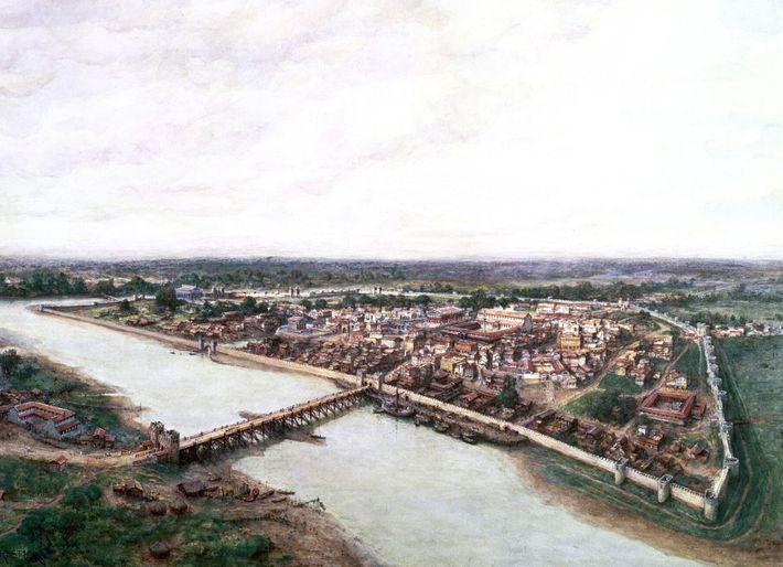Cette peinture datant de 1753 représente la ville romaine de Londinium et son pont fortifié enjambant la ...