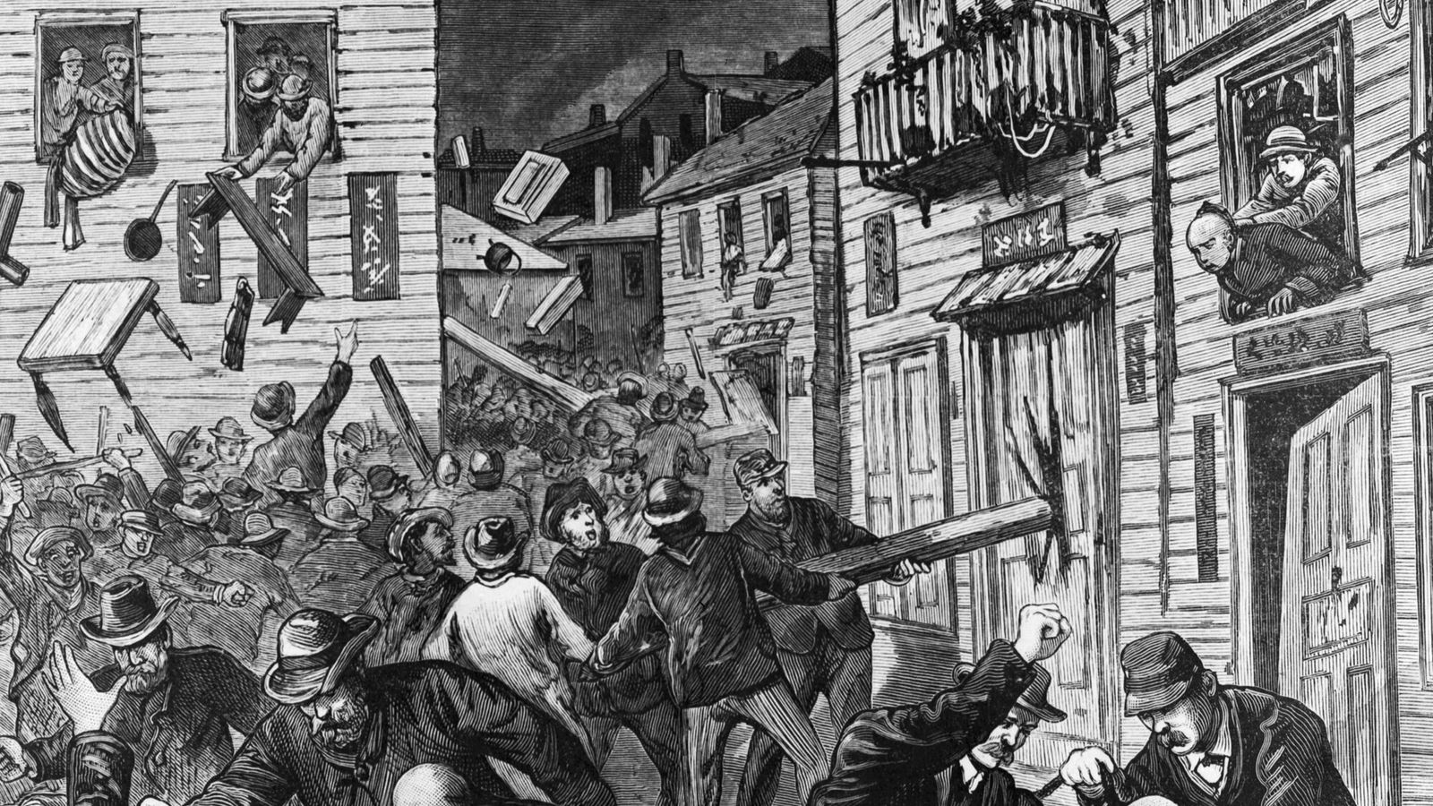 Illustration of an Anti-Chinese Riot of 1880