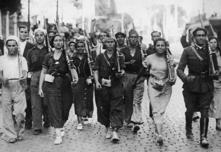 Republican militia fighters at the beginning of the Spanish Civil War.