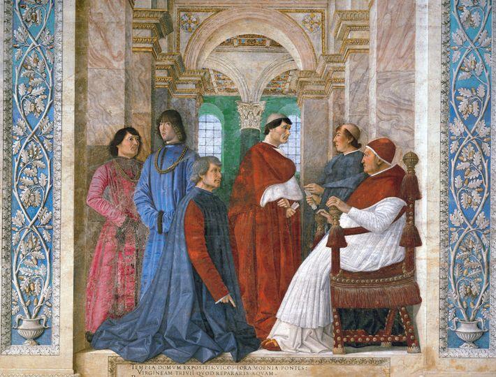 Girolamo Riario (deuxième en partant de la gauche), le premier mari de Catherine, se tient devant ...