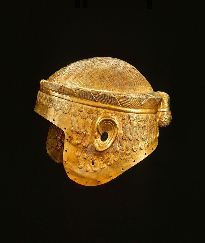 Hammered gold helmet from Ur