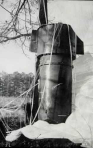 Amortie par son parachute, l'une des bombes a fini sa course dans un petit bosquet. L'examen ...