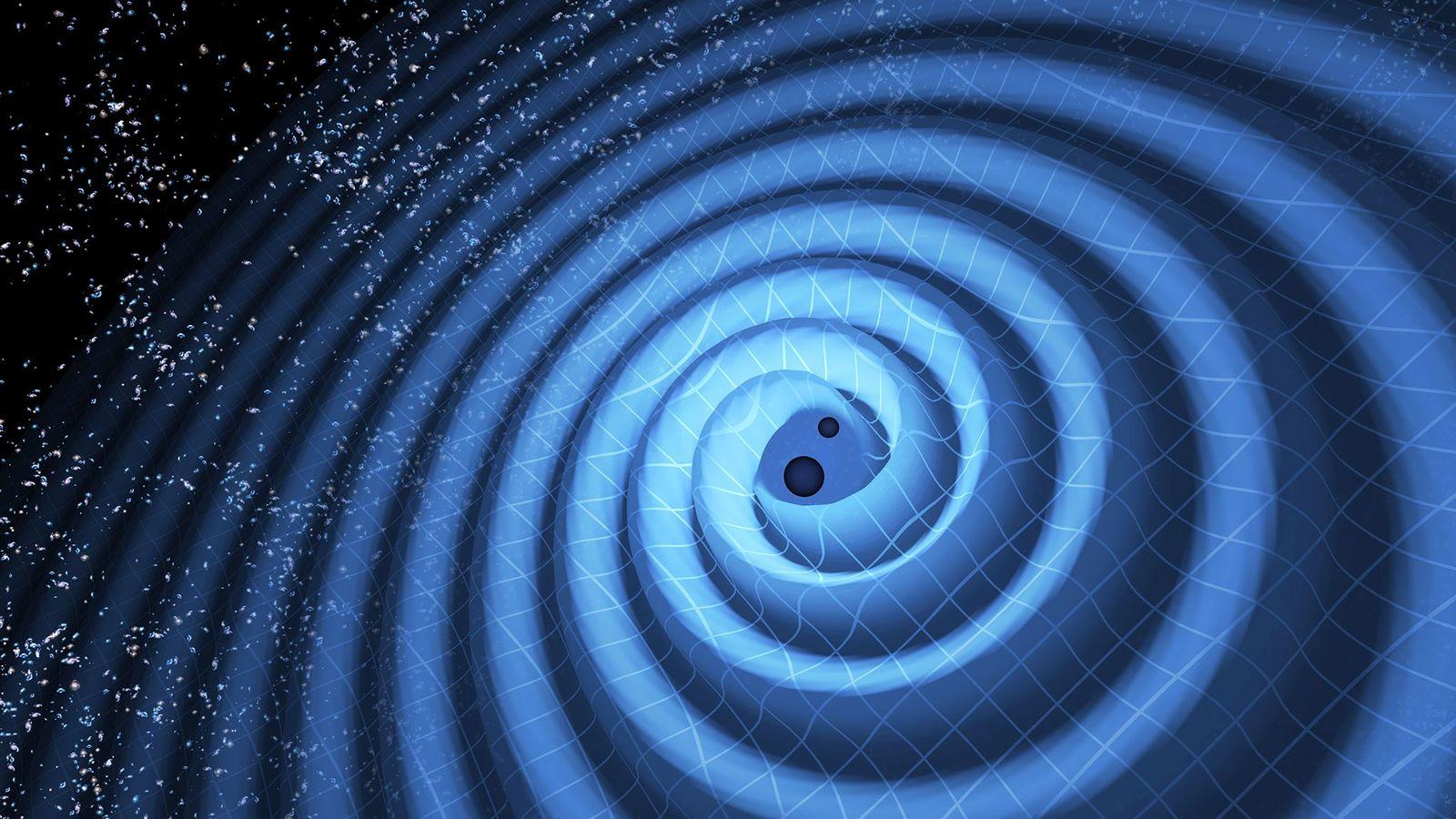 Cette illustration montre la fusion de deux trous noirs et les ondes gravitationnelles qu'elle provoquent.
