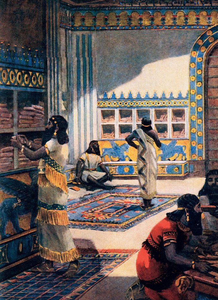 La grande bibliothèque du roi assyrien Assurbanipal au VIIe siècle av. J.-C., illustrée dans cette illustration ...