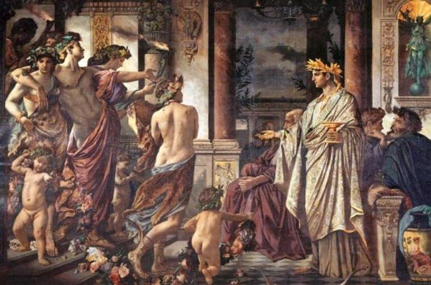 La vision d'Anselm Feuerbach du Banquet de Platon, en 1873, montre Alcibiade (à gauche), légèrement vêtu, ...