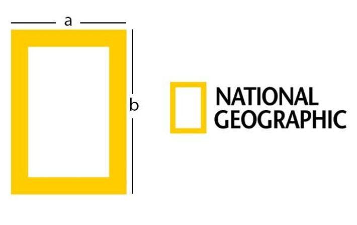 Les dimensions du logo de National Geographic sont basées sur les proportions du nombre d'or.