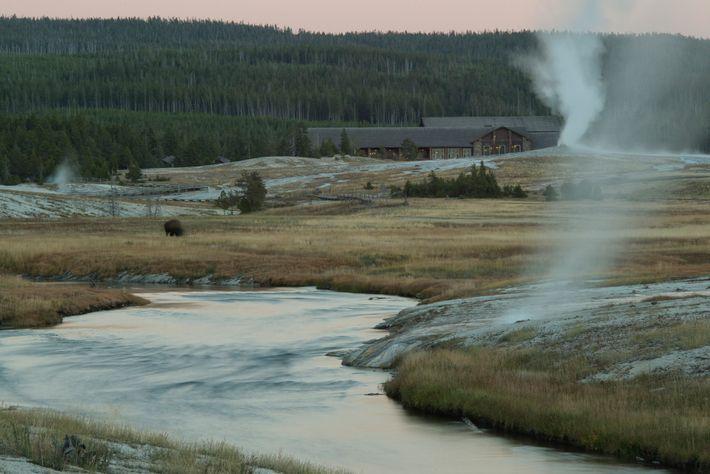 Le Old Faithful Lodge du parc de Yellowstone est exploité par une société appartenant à Xanterra, ...