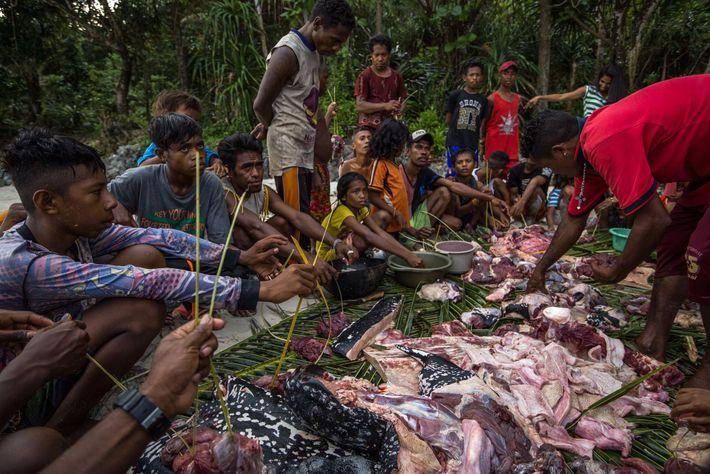 Après que les harponneurs ont débarqué une tortue luth dans les îles Kei en Indonésie, les ...