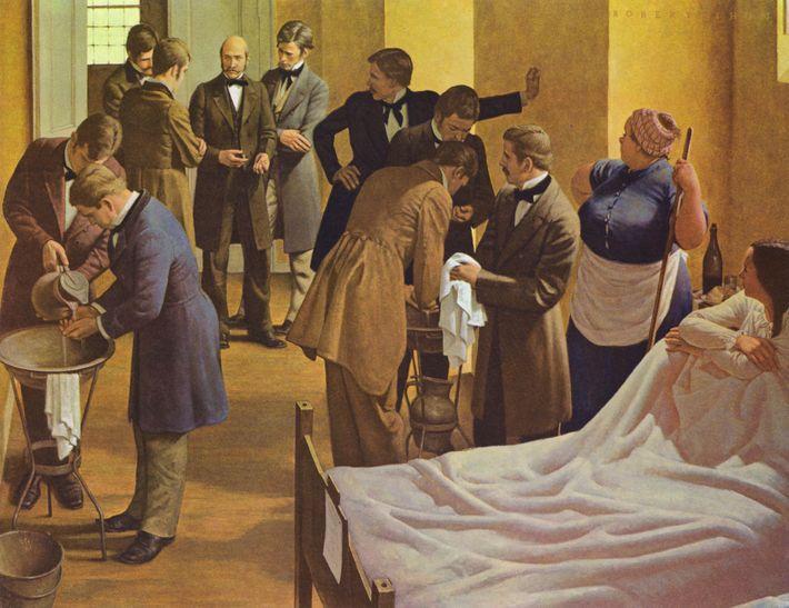 Un tableau brossé par le peintre Robert Thom représente Semmelweis (au centre) supervisant les médecins qui ...