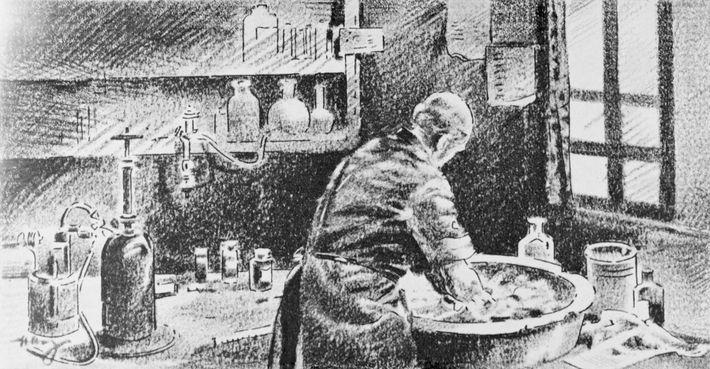 Ce croquis montre Semmelweis se lavant les mains à la chlorure de chaux. Ses travaux ont ...