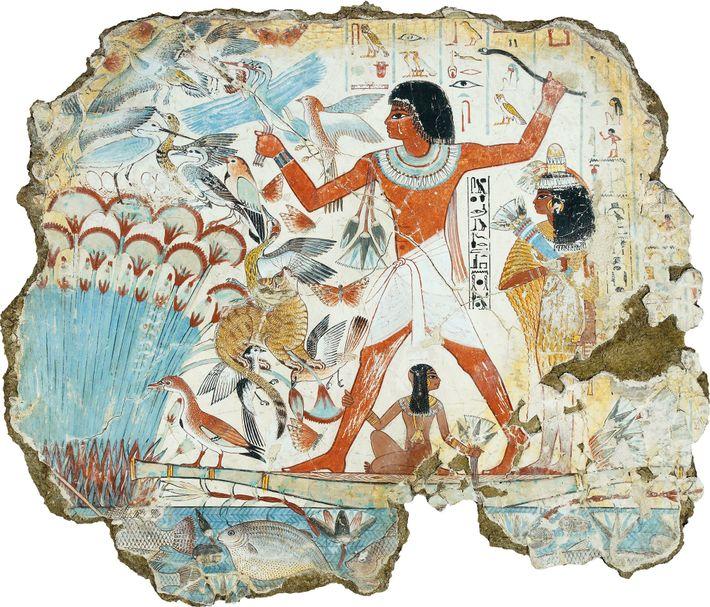Scène de chasse dans l'au-delà, une scène représentée sur une peinture murale de la tombe thébaine ...