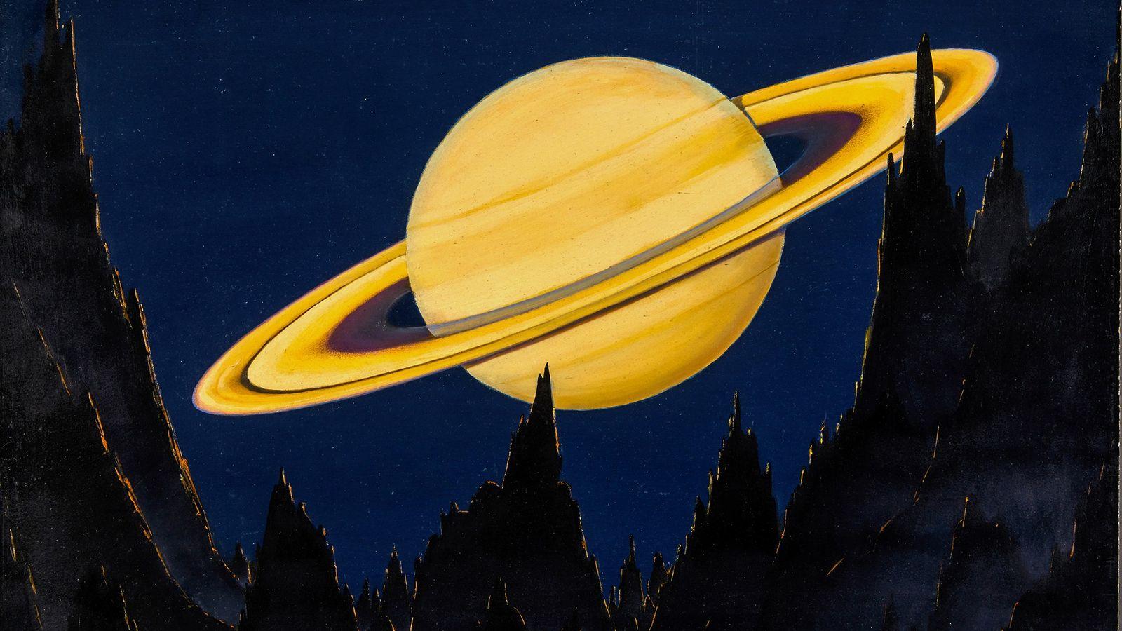 Cette peinture montre Saturne et ses anneaux emblématiques vus d'un astéroïde distant de 500 000 km. ...