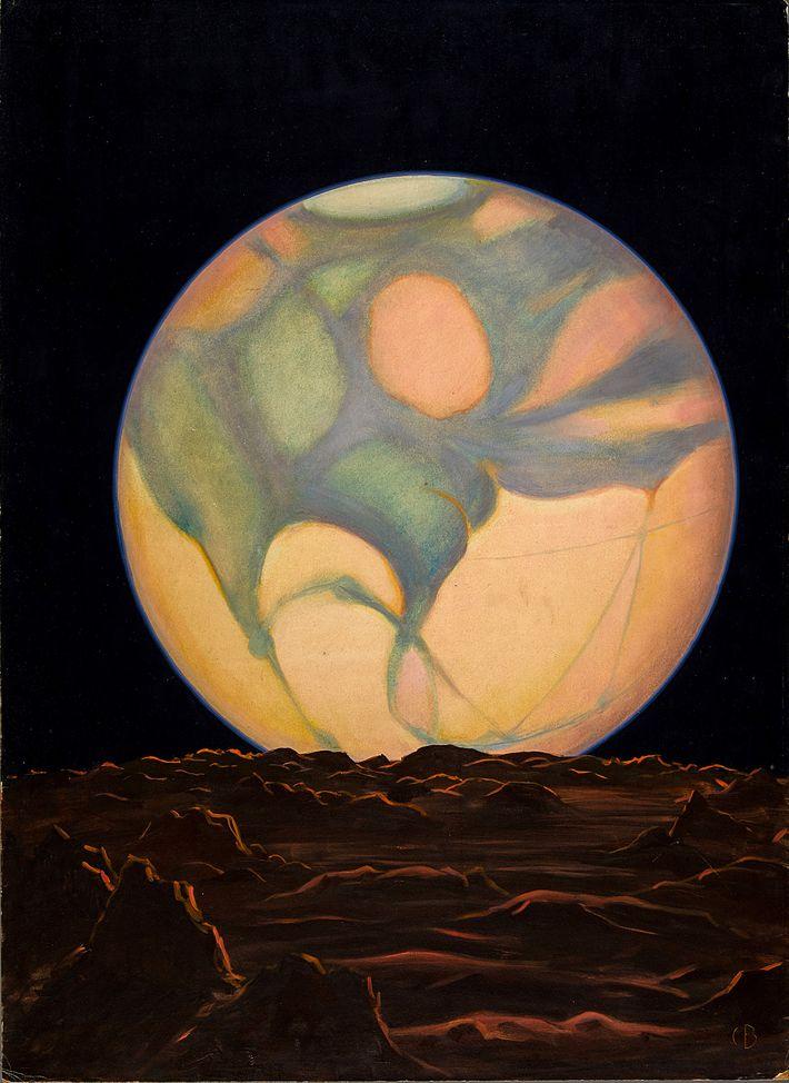"""Selon la légende de cette peinture de 1939, """"la seule vie extraterrestre peut exister dans les ..."""
