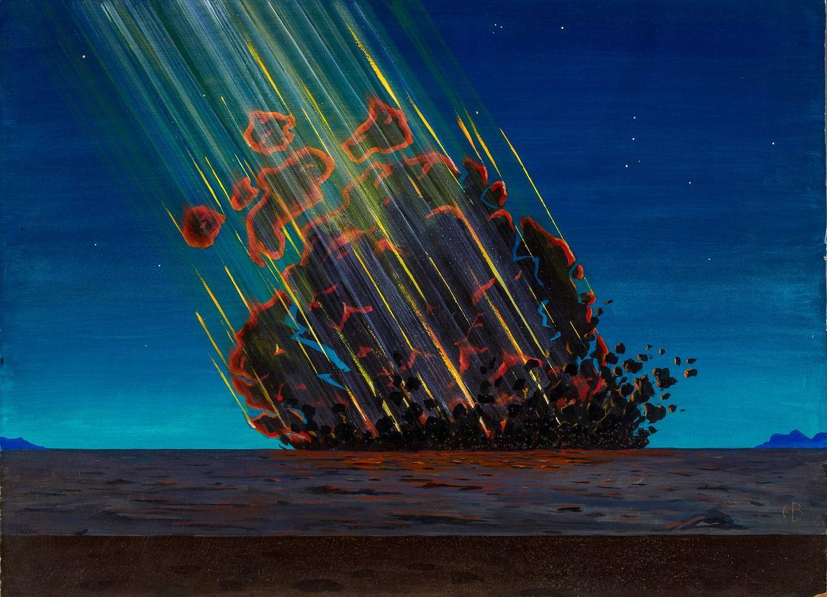 Vision d'artiste sur l'impact des astéroïdes ou des comètes qui a créé le célèbre cratère de ...