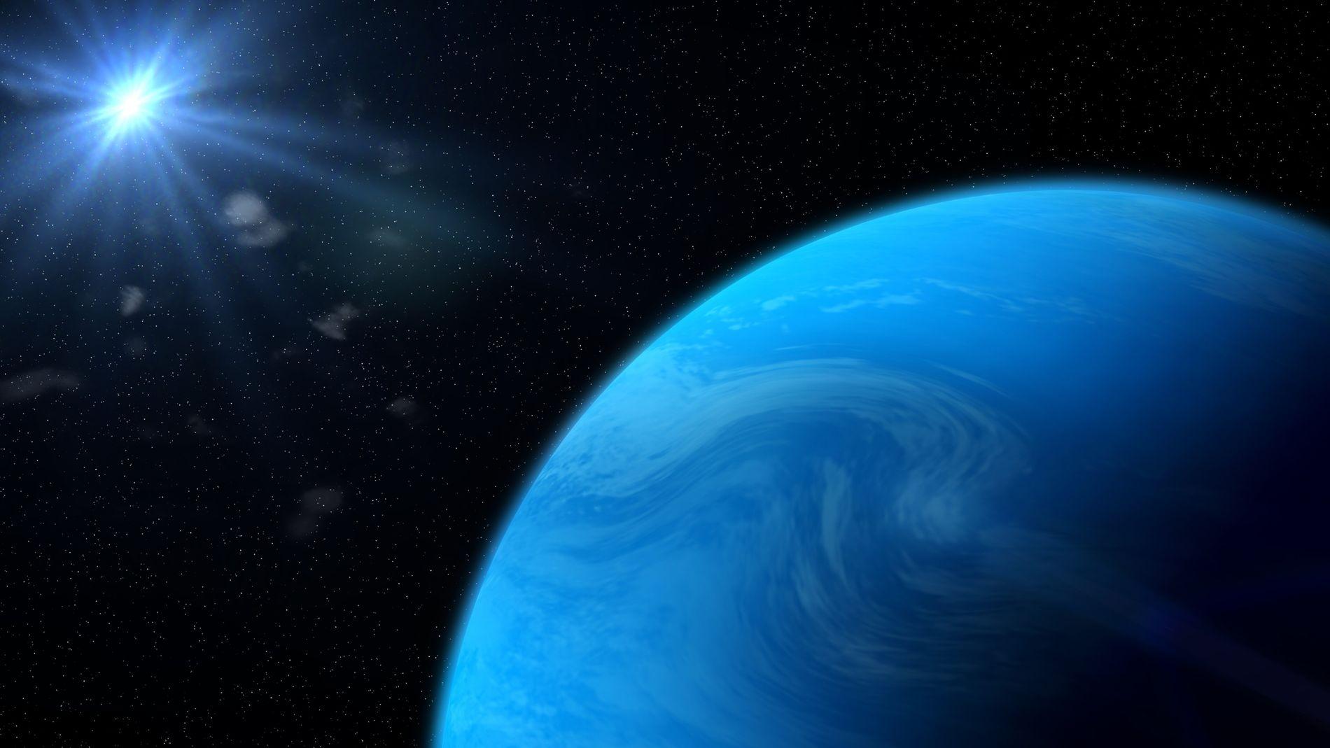 Représentation d'une planète-océan.