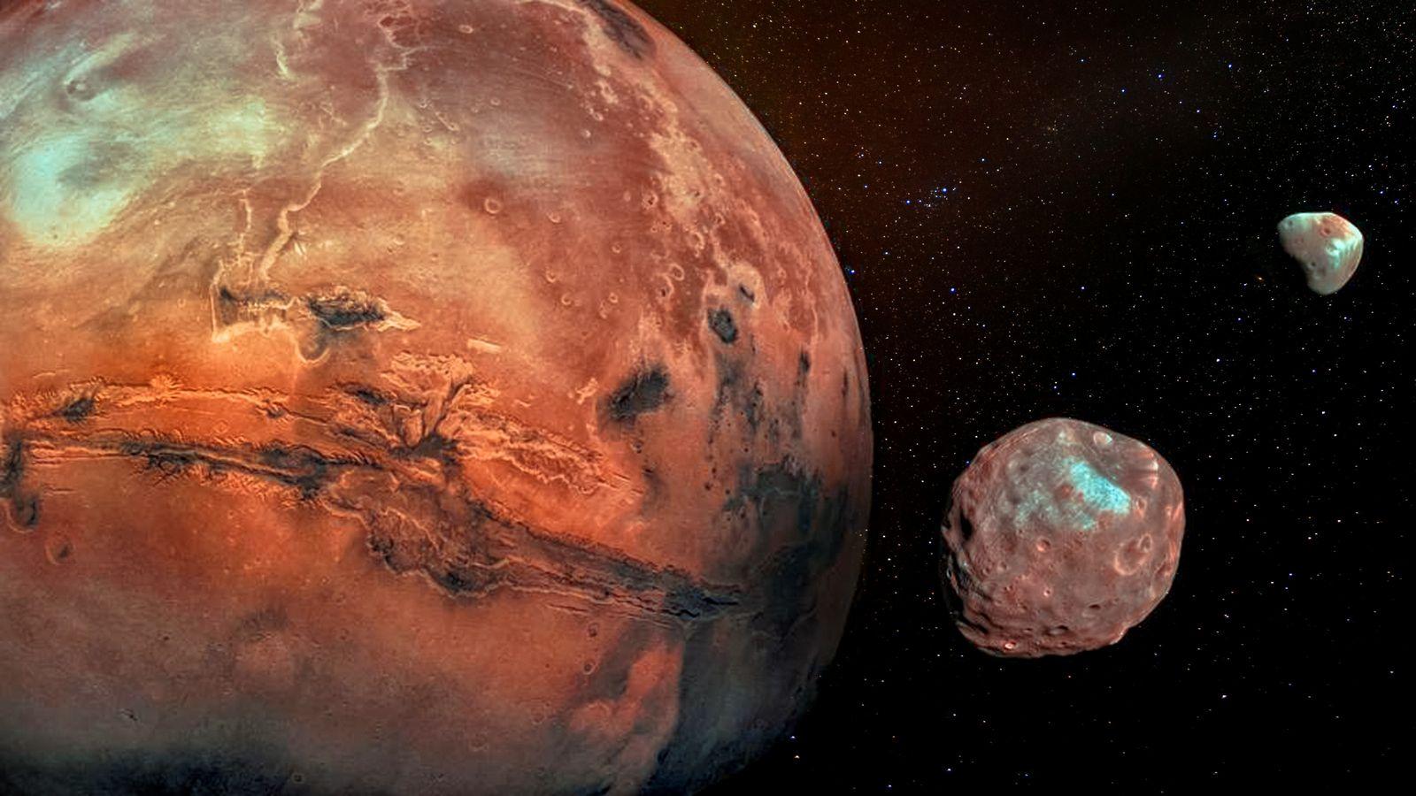 Représentation de Mars et ses deux lunes : Phobos et Déimos