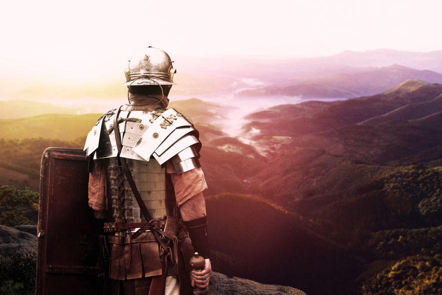 Acteur incarnant un légionnaire romain.