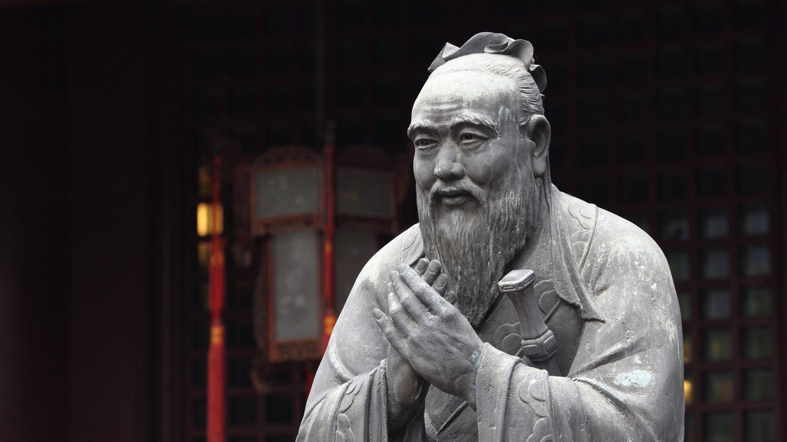 Confucius, représenté ici, ne croyait pas aux esprits, qui n'avaient pas leur place dans sa pensée ...