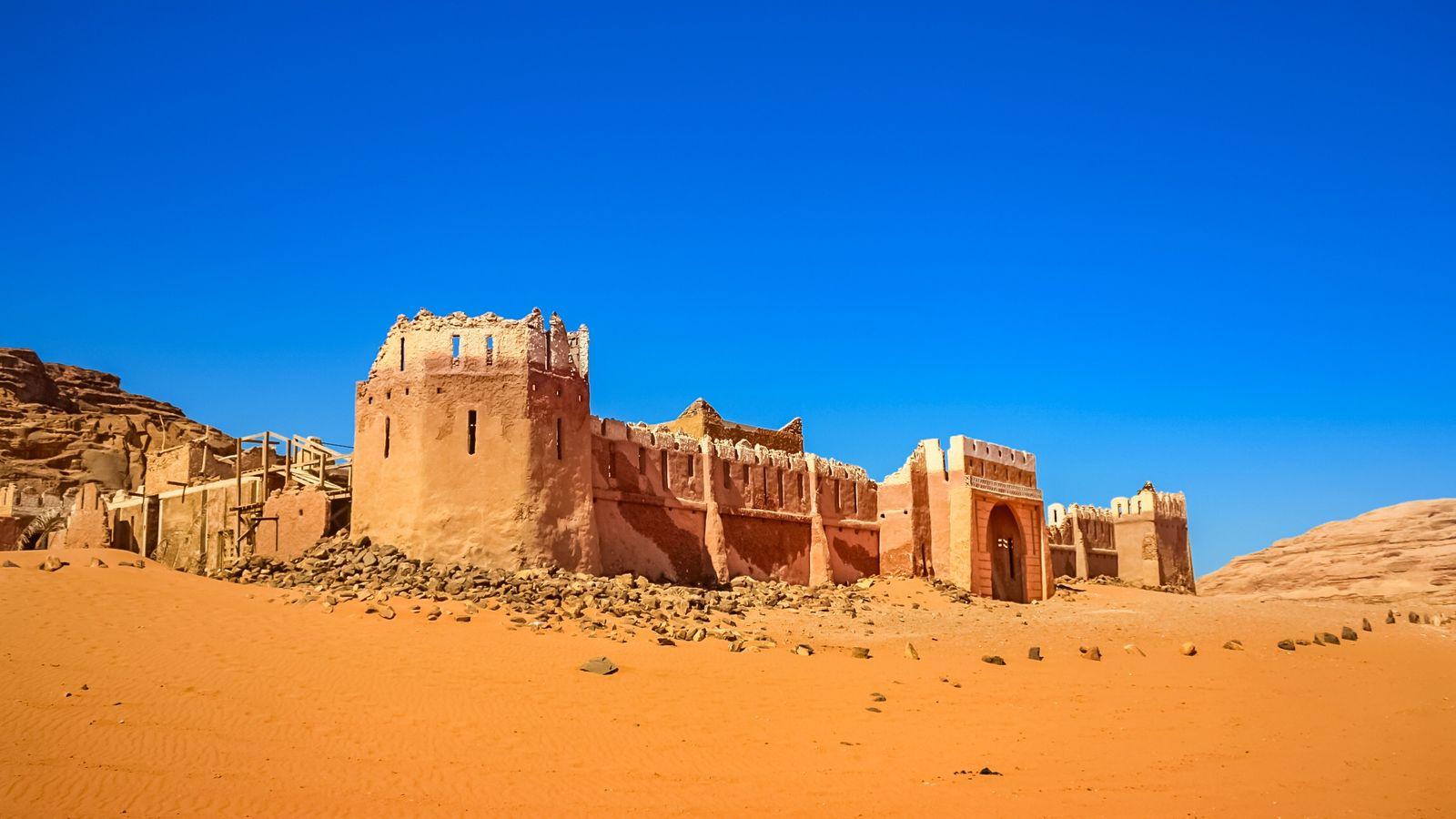 Wadi Rum, Jordanie - Château construit pour le film Lawrence d'Arabie, daté de 1962, dans le ...