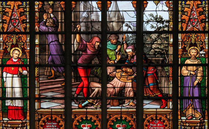 Bruxelles, Belgique : Vitraux représentant une légende selon laquelle des juifs se seraient attaqué aux hosties ...