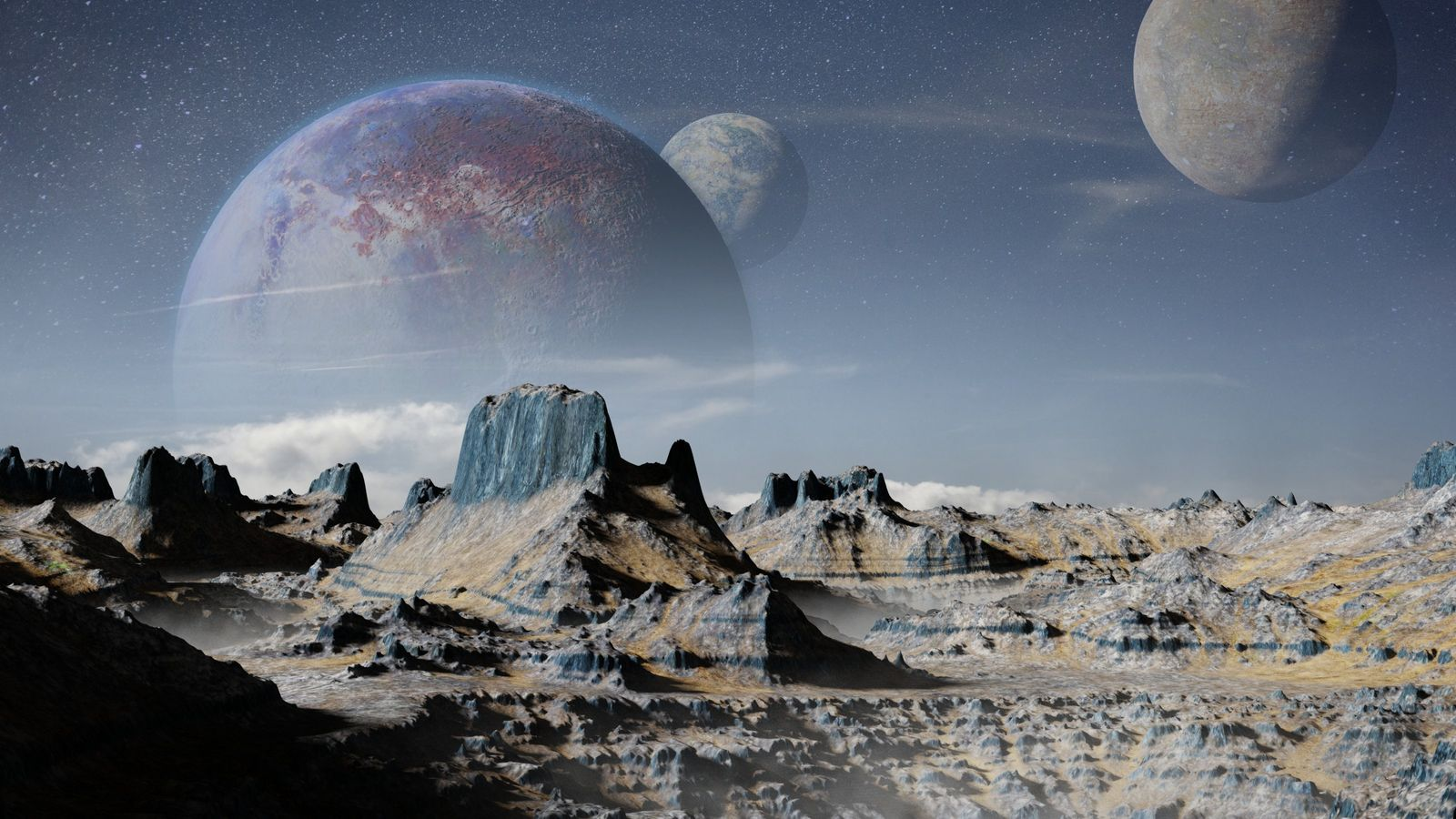 Représentation d'une exoplanète et ses trois lunes.