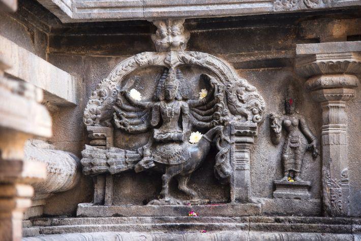 Sculpture de Kartikeya, Temple de Brihadishvara, Thanjavur, Tamil Nadu, Inde.