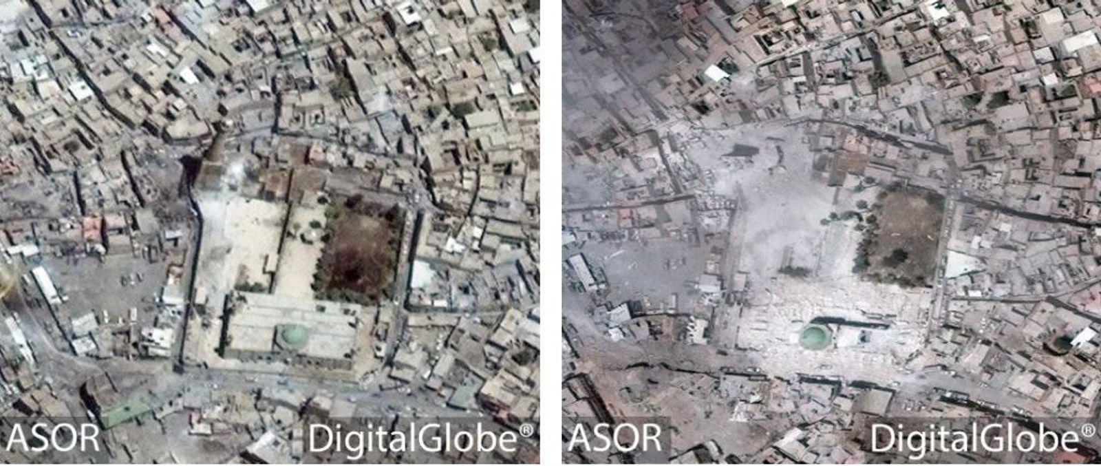 UN DOMMAGE COLLATÉRAL - Une image satellite prise le 19 juin 2017, à gauche, montre  ...