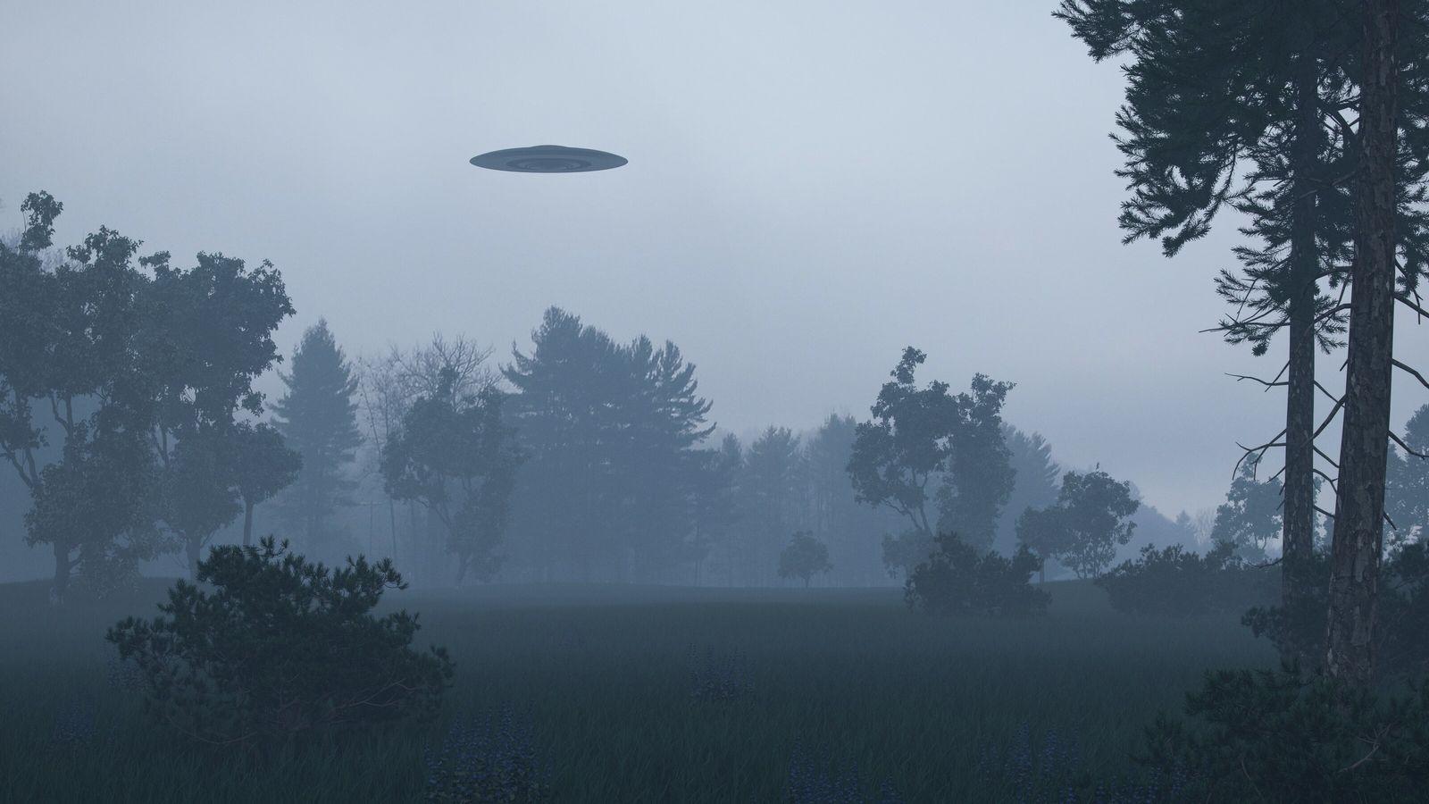 Image d'illustration représentant un objet volant non identifié survolant une forêt.