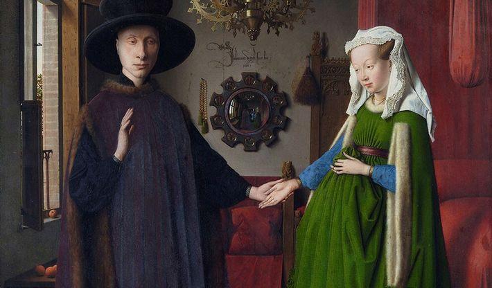 Arnolfini et sa femme (1434) : ce célébre tableau de Jan Van Eyck, peint à l'occasion du mariage ...