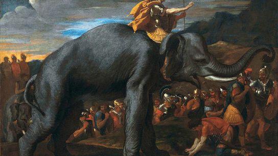 Hannibal traversant les Alpes à dos d'éléphant.