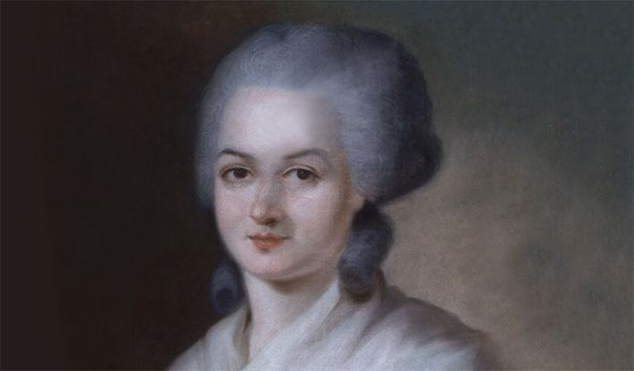 Portrait d'Olympe de Gouges attribué à Alexandre Kucharski. Pastel sur parchemin, vers 1788.