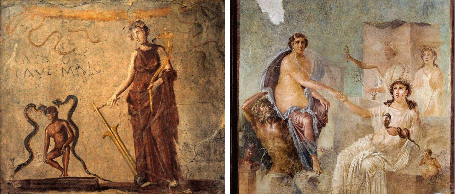 Les adaptations romaines apparaissent dans de nombreuses fresques conservées par les cendres volcaniques qui ont recouvert ...