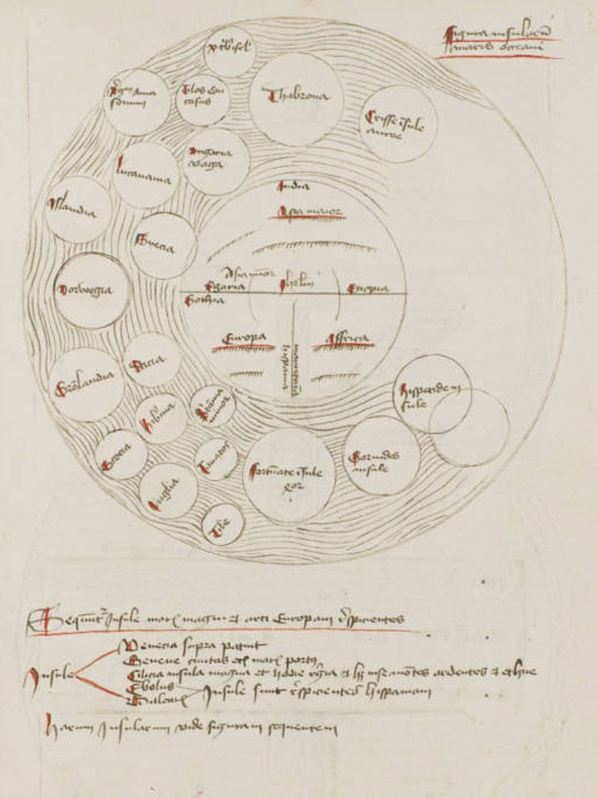 Les sections géographiques du manuscrit proposent une carte d'îles, un exemple précoce d'une carte thématique.