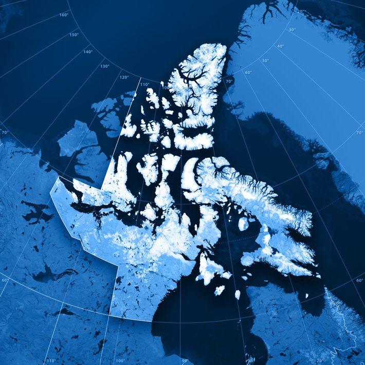 Carte topographique deNunavut, Canada.