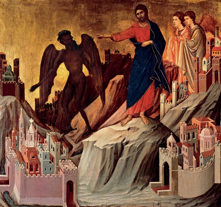 Le Christ rejette le pacte du diable qui lui offrait le pouvoir sur le monde entier. ...