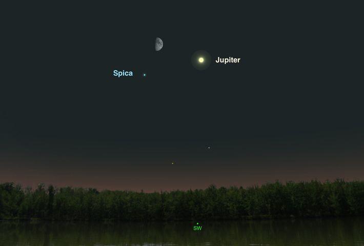 Jupiter, la Lune et l'étoile Spica formeront un trio le 1er juillet.