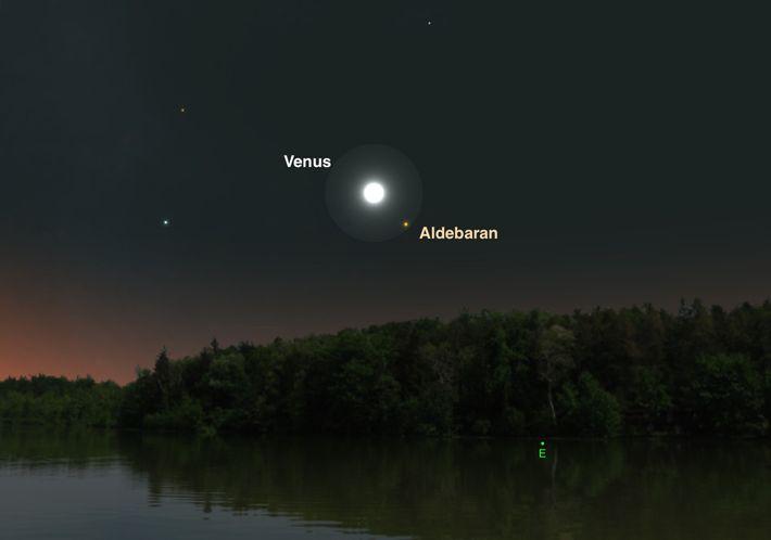 Le 14 juillet, Vénus passe à proximité de l'étoile aux teintes orangées Aldébaran.