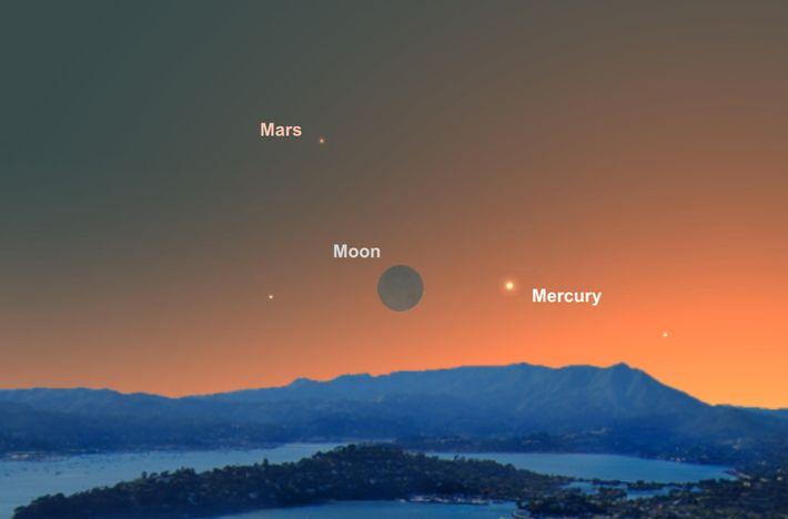 Le 4 juin, le fin croissant de Lune fera office de guide pour repérer la minuscule ...