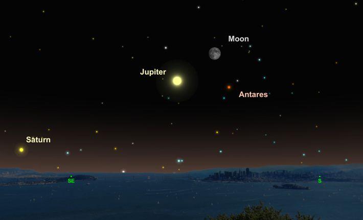 Le 15 juin, Jupiter, la Lune et l'étoile rouge Antares formeront un triangle céleste.